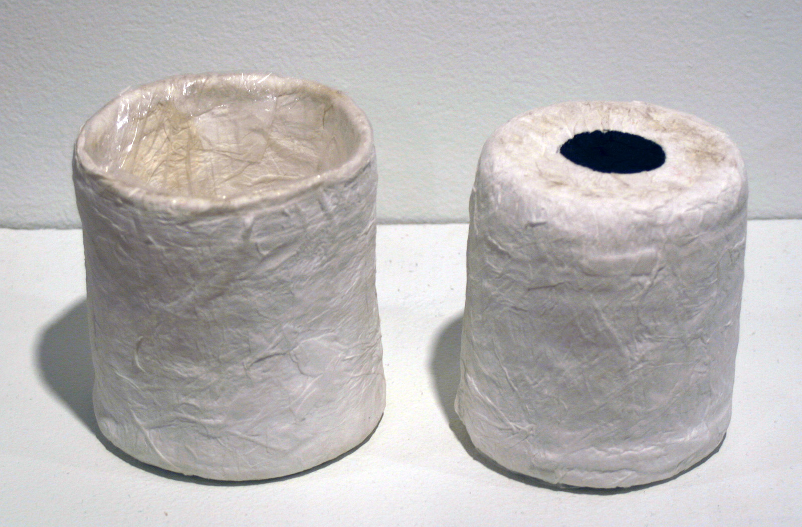 Paper maché drinking cup disguised as a roll of toilet paper
