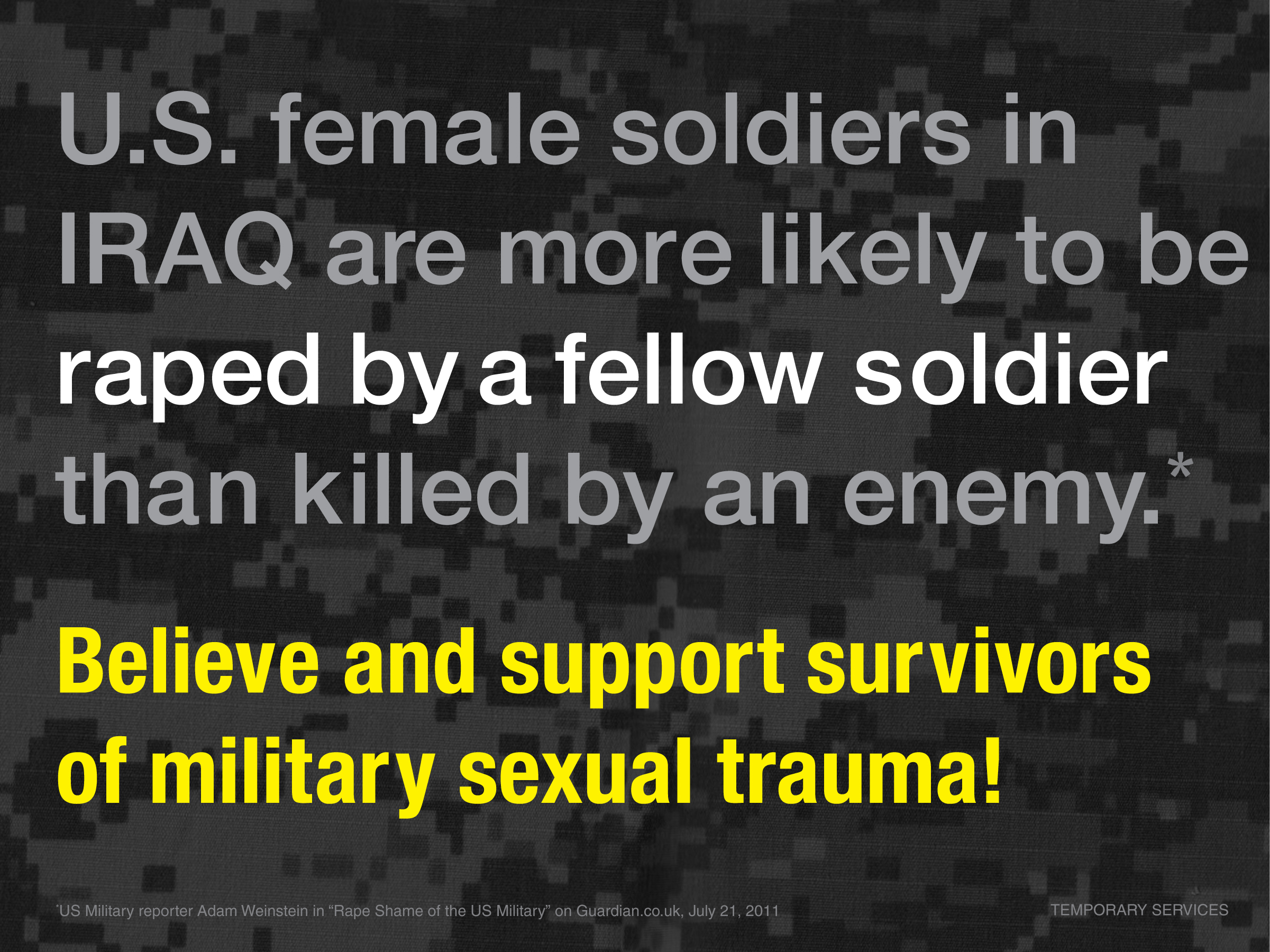 Support Survivors Poster | War is Trauma | Temporary Services