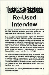 16. Re-used Interview, March 2000.
