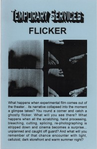 25. Flicker, text by Amy Beste, August 2000.